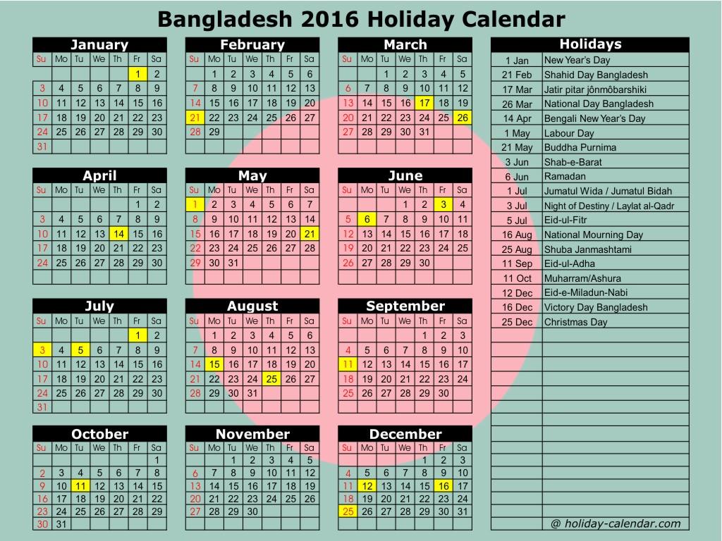 Bangladesh 2016 Holiday Calendar