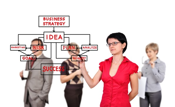 businesswoman drawing business strategy  and people on background