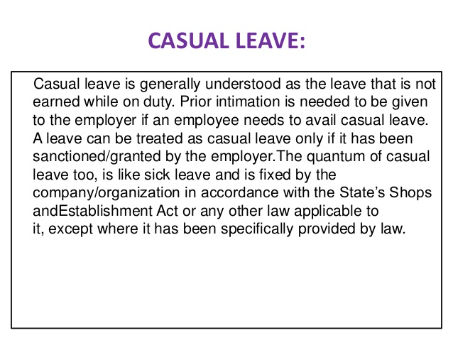 Casual Leave Human Resource Management
